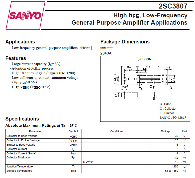 2sc3807 Transistor Low Frequency General Purpose