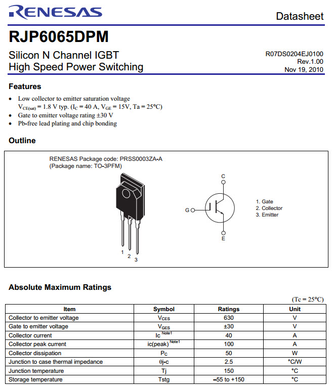 Rjp6065 N Channel Igbt Hight Speed Power Switching